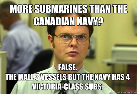 More submarines than the Canadian Navy? False. the mall 3 vessels but the navy has 4 Victoria-class subs. - More submarines than the Canadian Navy? False. the mall 3 vessels but the navy has 4 Victoria-class subs.  Dwight