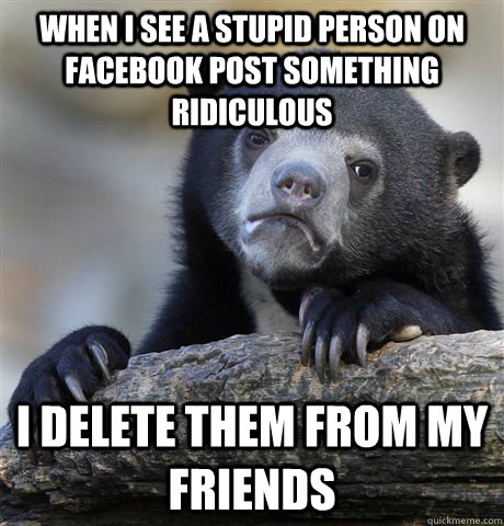 When I see a stupid person on facebook post something ridiculous I delete them from my friends - When I see a stupid person on facebook post something ridiculous I delete them from my friends  Confession Bear