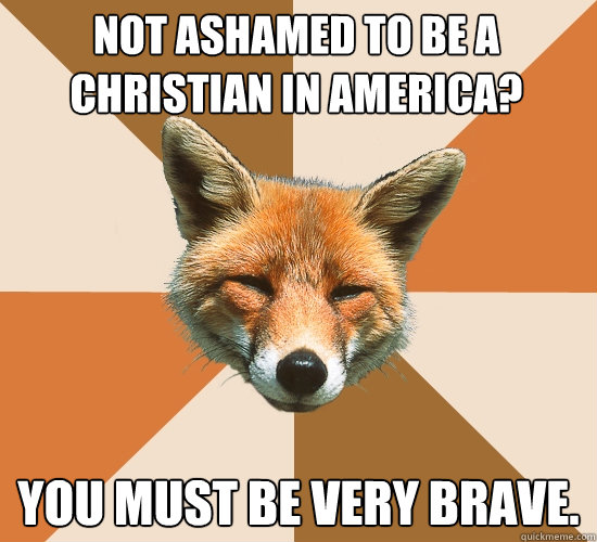 Not ashamed to be a Christian in America? You must be very brave.  Condescending Fox