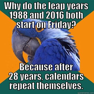 WHY DO THE LEAP YEARS 1988 AND 2016 BOTH START ON FRIDAY? BECAUSE AFTER 28 YEARS, CALENDARS REPEAT THEMSELVES. Paranoid Parrot