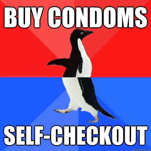 BUY CONDOMS SELF-CHECKOUT  Socially Awksome Penguin