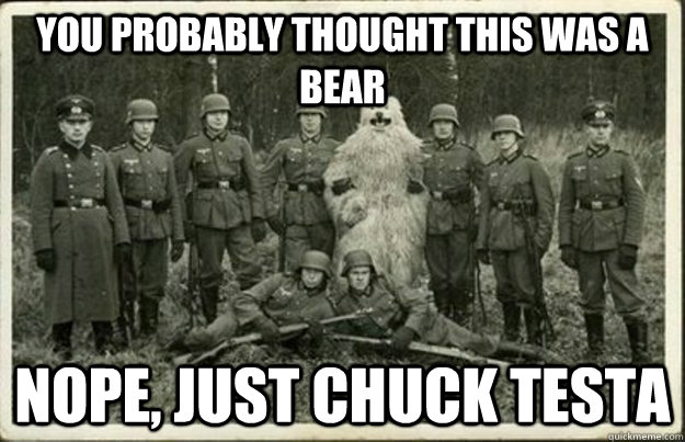 You probably thought this was a bear Nope, just chuck Testa