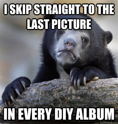 I skip straight to the last picture In every DIY album - I skip straight to the last picture In every DIY album  Confession Bear