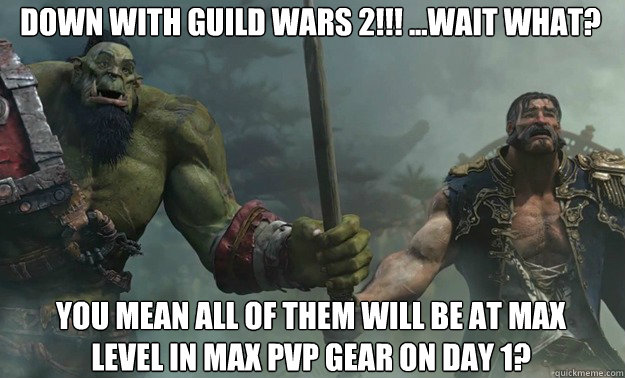 Down with Guild wars 2!!! ...Wait What? You mean all of them will be at max level in max pvp gear on day 1?