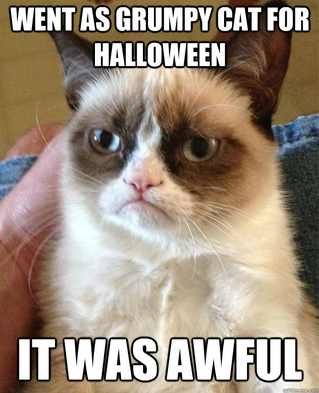 Went as grumpy cat for halloween it was awful - Went as grumpy cat for halloween it was awful  Grumpy Cat