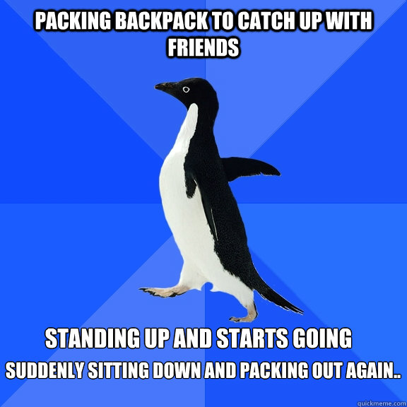 Packing Backpack To Catch Up With Friends Standing Up And Starts