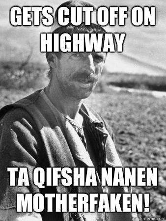 Gets cut off on highway  Ta qifsha nanen motherfaken!
