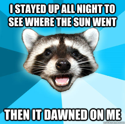 I STAYED UP ALL NIGHT TO SEE WHERE THE SUN WENT THEN IT DAWNED ON ME - I STAYED UP ALL NIGHT TO SEE WHERE THE SUN WENT THEN IT DAWNED ON ME  Lame Pun Coon