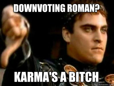 Downvoting Roman? Karma's a bitch - Downvoting Roman? Karma's a bitch  Downvoting Roman