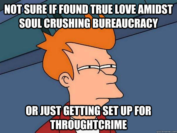 Not sure if found true love amidst soul crushing bureaucracy or just getting set up for throughtcrime  - Not sure if found true love amidst soul crushing bureaucracy or just getting set up for throughtcrime   Futurama Fry