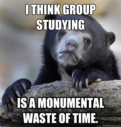 I think group studying is a monumental waste of time. - I think group studying is a monumental waste of time.  Confession Bear