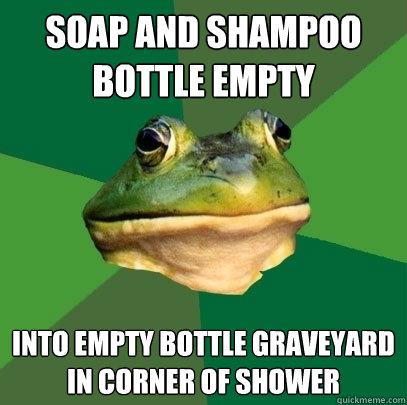 Soap and shampoo bottle empty Into empty bottle graveyard in corner of shower