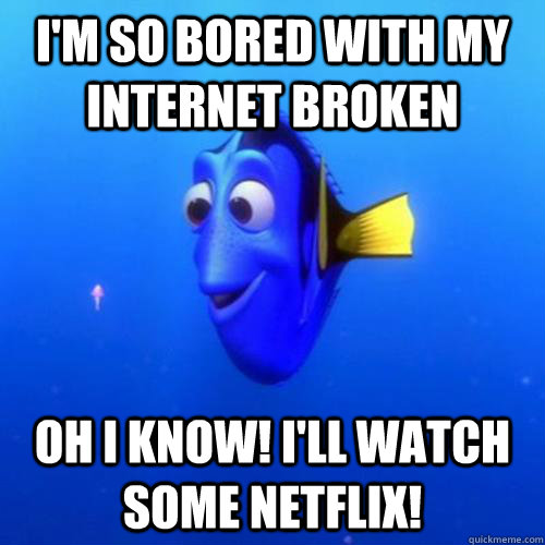 I'm so bored with my internet broken Oh i know! I'll watch some Netflix! - I'm so bored with my internet broken Oh i know! I'll watch some Netflix!  dory