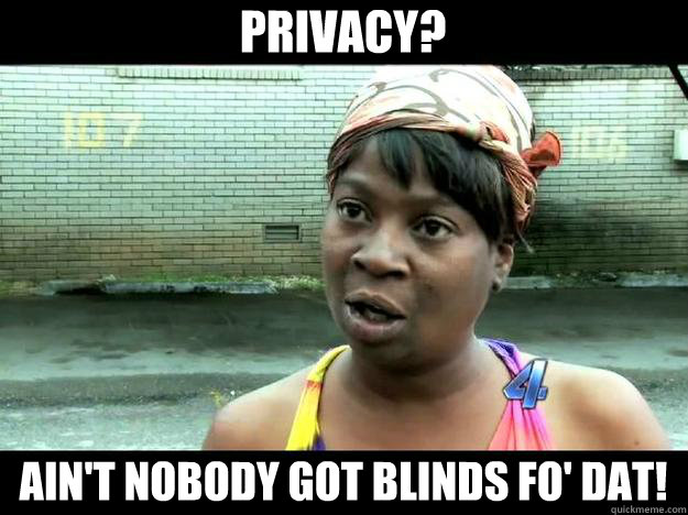 Privacy? Ain't Nobody Got Blinds Fo' Dat!  Sweet Brown - Hurricane Sandy Aint Nobody Got Time For That