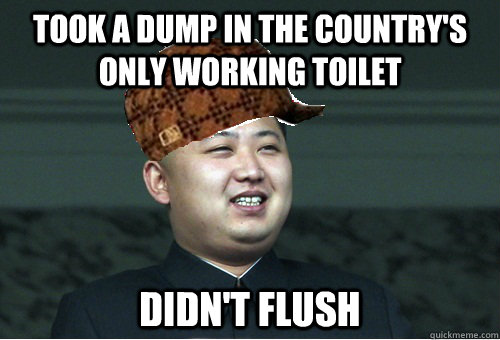Took a dump in the country's only working toilet didn't flush