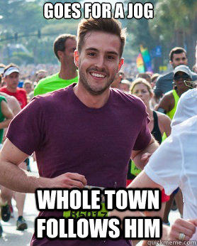 Goes for a jog Whole town follows him