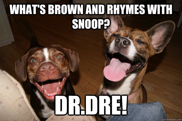What's brown and rhymes with snoop? Dr.Dre!  Clean Joke Puppies
