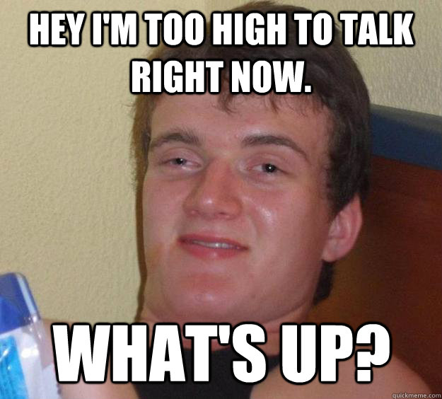 Hey I'm too high to talk right now. What's up? - Hey I'm too high to talk right now. What's up?  10 Guy
