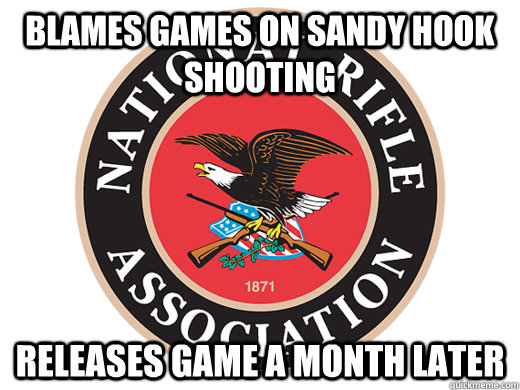 blames games on sandy hook shooting releases game a month later