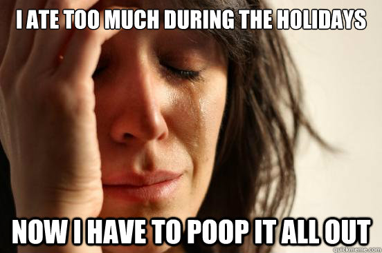 I ate too much during the holidays now i have to poop it all out - I ate too much during the holidays now i have to poop it all out  First World Problems