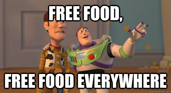 free food, free food everywhere - free food, free food everywhere  Toy Story Everywhere