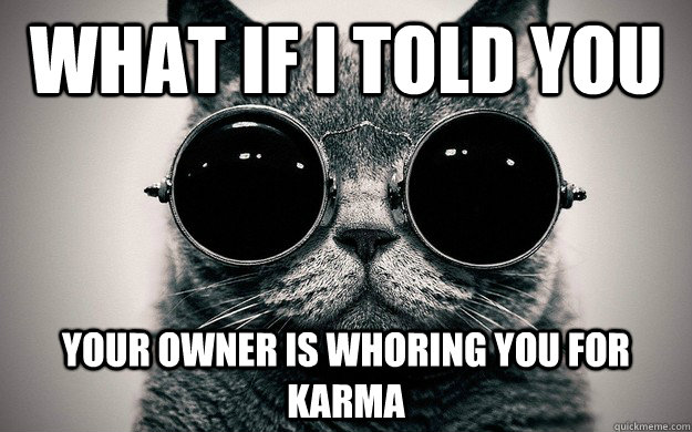 What if i told you Your owner is whoring you for karma