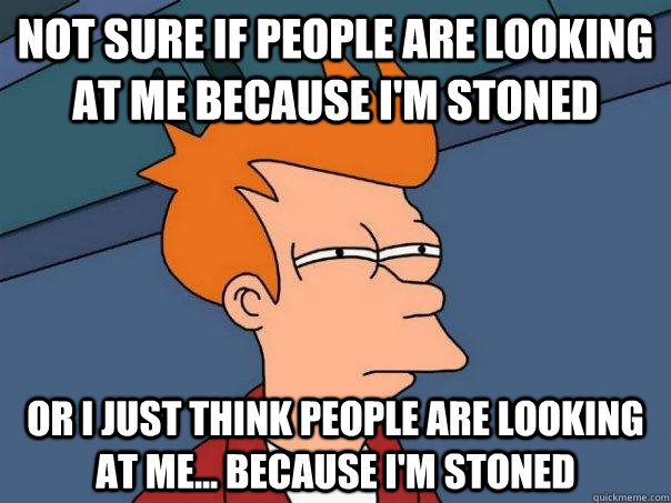 Not sure if people are looking at me because I'm stoned Or I just think people are looking at me... because I'm stoned - Not sure if people are looking at me because I'm stoned Or I just think people are looking at me... because I'm stoned  Futurama Fry