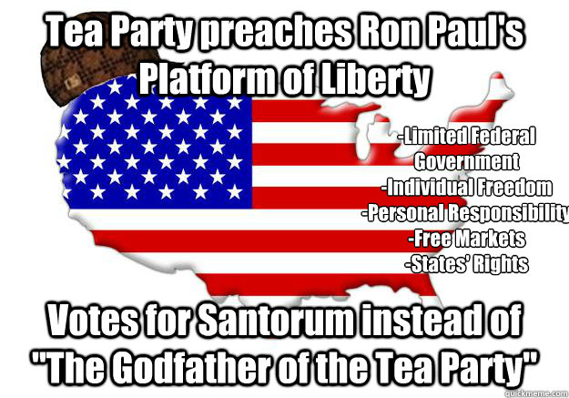 Tea Party preaches Ron Paul's Platform of Liberty Votes for Santorum instead of