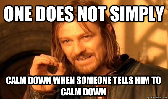 ONE DOES NOT SIMPLY CALM DOWN WHEN SOMEONE TELLS HIM TO CALM DOWN - ONE DOES NOT SIMPLY CALM DOWN WHEN SOMEONE TELLS HIM TO CALM DOWN  One Does Not Simply