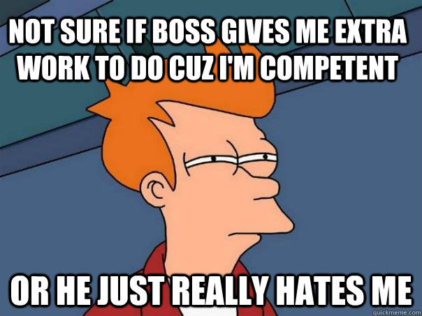 not sure if boss gives me extra work to do cuz I'm competent  or he just really hates me - not sure if boss gives me extra work to do cuz I'm competent  or he just really hates me  Futurama Fry