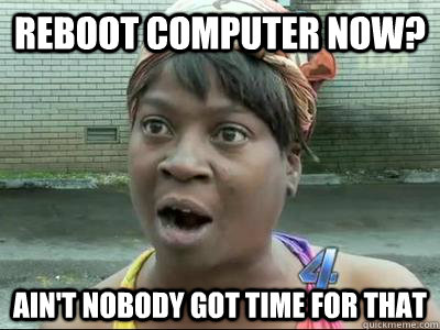 Reboot Computer Now? Ain't Nobody Got Time For That