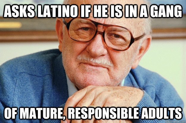 Asks latino if he is in a gang Of mature, responsible adults  Misunderstood Senior Citizen