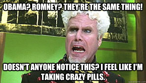 Obama? Romney? They're the same thing! Doesn't anyone notice this? I feel like I'm taking crazy pills.