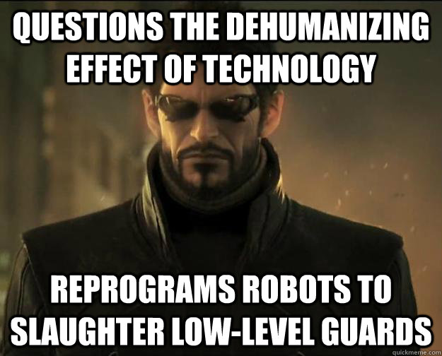 questions the dehumanizing effect of technology reprograms robots to slaughter low-level guards