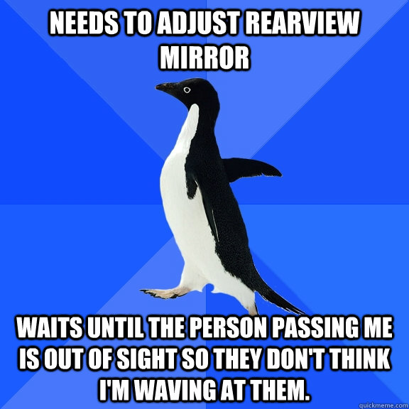 Needs to adjust rearview mirror Waits until the person passing me is out of sight so they don't think I'm waving at them. - Needs to adjust rearview mirror Waits until the person passing me is out of sight so they don't think I'm waving at them.  Socially Awkward Penguin