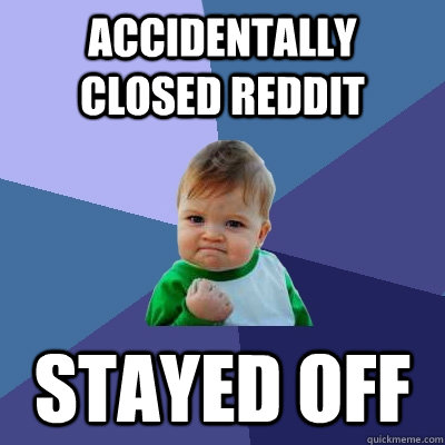 Accidentally closed reddit stayed off - Accidentally closed reddit stayed off  Success Kid