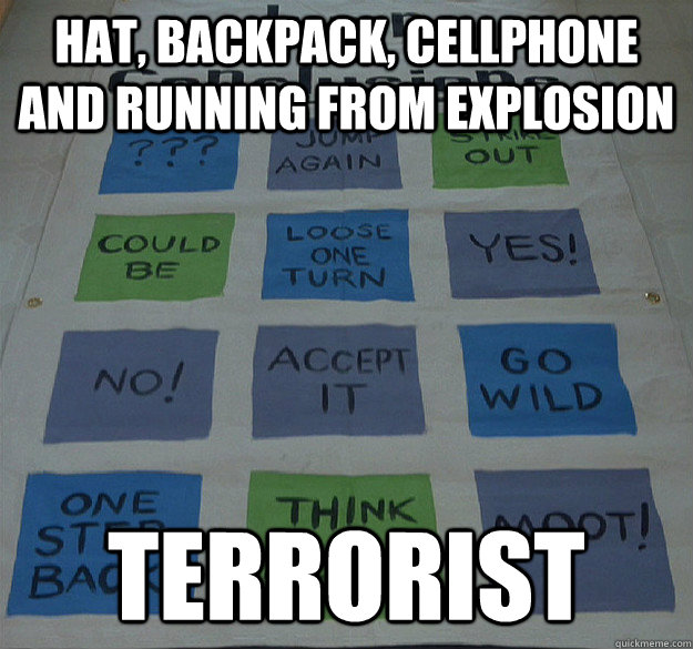 Hat, Backpack, Cellphone and running from explosion Terrorist - Hat, Backpack, Cellphone and running from explosion Terrorist  JumpToConclusions