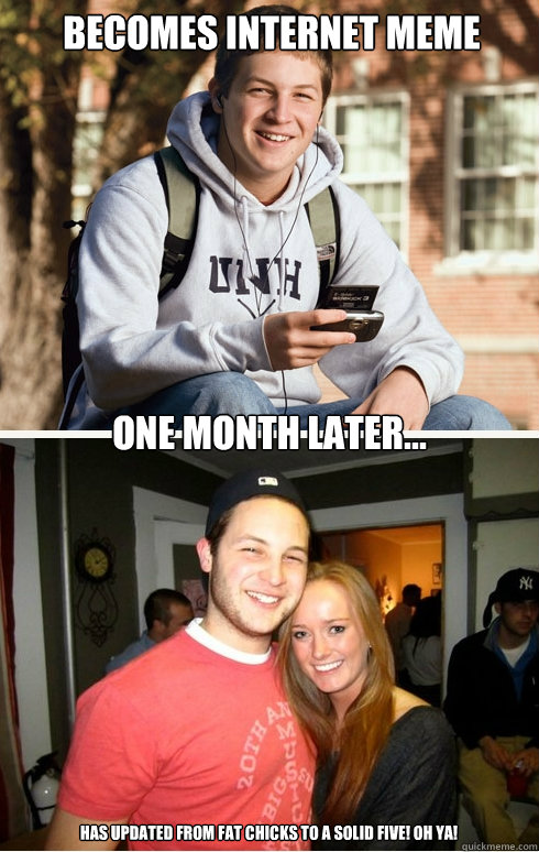 Becomes internet meme one month later... has updated from fat chicks to a solid five! oh ya!  1 month later