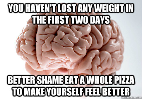 You haven't lost any weight in the first two days Better shame eat a whole pizza to make yourself feel better - You haven't lost any weight in the first two days Better shame eat a whole pizza to make yourself feel better  Scumbag Brain