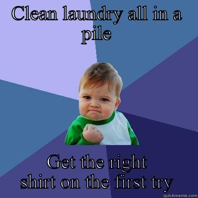 CLEAN LAUNDRY ALL IN A PILE GET THE RIGHT SHIRT ON THE FIRST TRY Success Kid