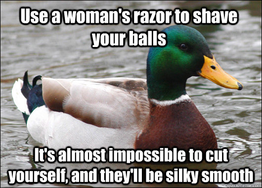 Use a woman's razor to shave your balls It's almost impossible to cut yourself, and they'll be silky smooth - Use a woman's razor to shave your balls It's almost impossible to cut yourself, and they'll be silky smooth  Actual Advice Mallard
