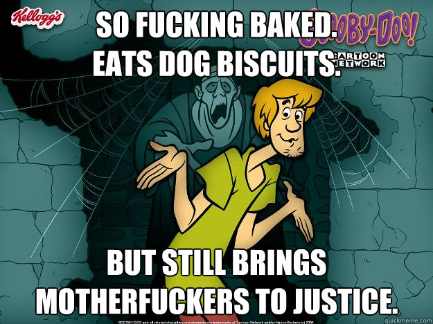 SO FUCKING BAKED. EATS DOG BISCUITS. BUT STILL BRINGS MOTHERFUCKERS TO JUSTICE.