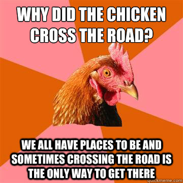 why did the chicken cross the road? we all have places to be and sometimes crossing the road is the only way to get there  Anti-Joke Chicken
