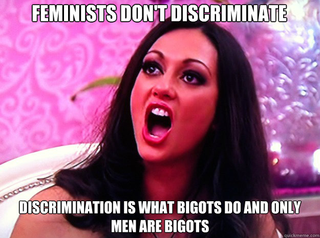 Feminists don't discriminate Discrimination is what bigots do and only men are bigots - Feminists don't discriminate Discrimination is what bigots do and only men are bigots  Feminist Nazi