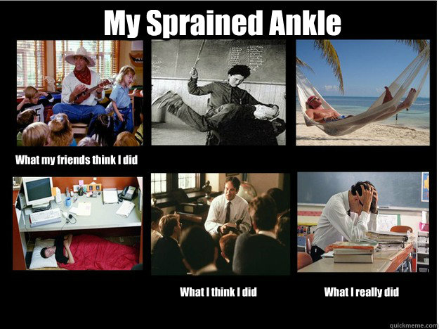 My Sprained Ankle What my friends think I did What I think I did What I really did  What People Think I Do