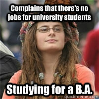 Complains that there's no jobs for university students Studying for a B.A.
