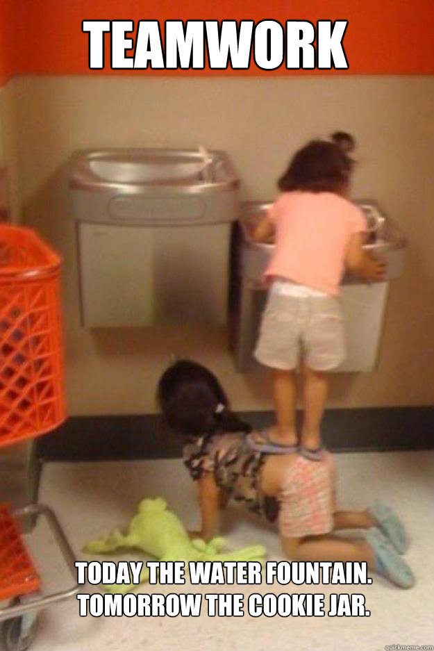 Teamwork Today the water fountain.  Tomorrow the cookie jar.