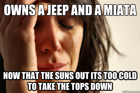 Owns a jeep and a miata Now that the suns out its too cold to take the tops down - Owns a jeep and a miata Now that the suns out its too cold to take the tops down  First World Problems