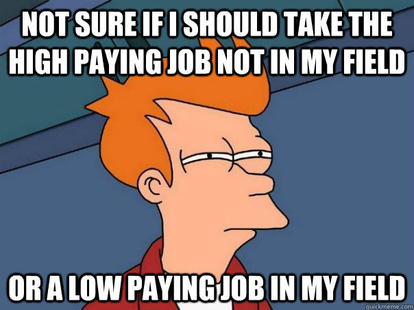 Not sure if I should take the high paying job not in my field Or a low paying job in my field - Not sure if I should take the high paying job not in my field Or a low paying job in my field  Futurama Fry
