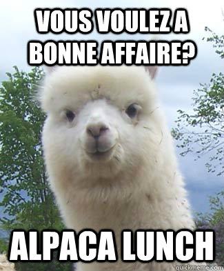 Vous voulez a bonne affaire? Alpaca Lunch